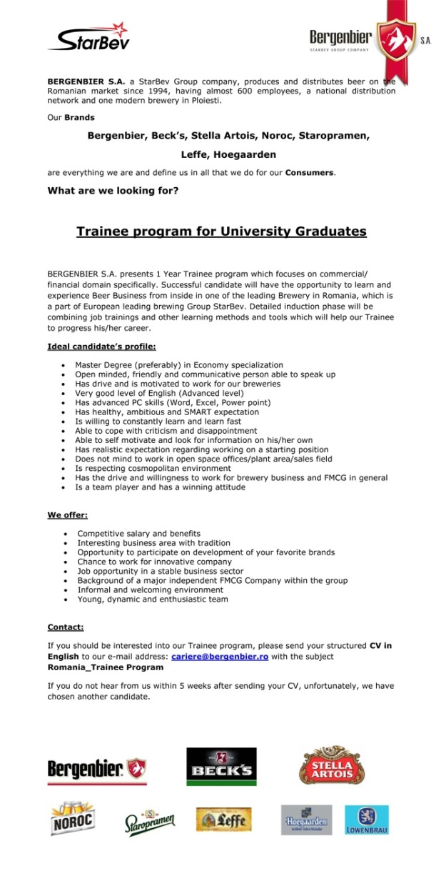 Trainee program for University Graduates - Bergenbier